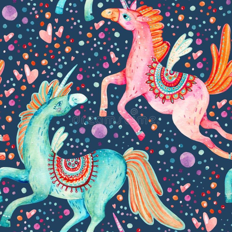 Pares de la acuarela de modelo inconsútil de los unicornios del vuelo en fondo con las burbujas y los corazones ilustración del vector