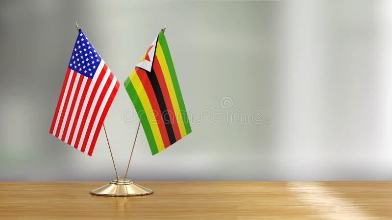 Pares de la bandera del americano y de Zimbabwe en un escritorio sobre fondo defocused ilustración del vector