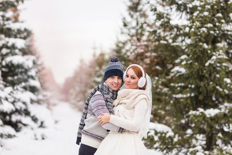 Pares de la boda al aire libre en invierno imagen de archivo libre de regalías