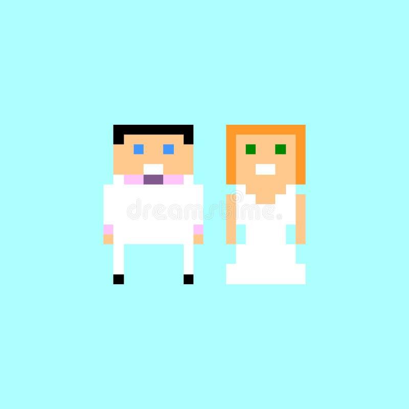Pares de la boda del arte del pixel libre illustration
