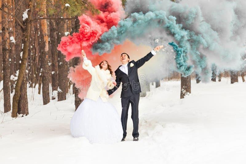 Pares de la boda en el día de invierno fotografía de archivo