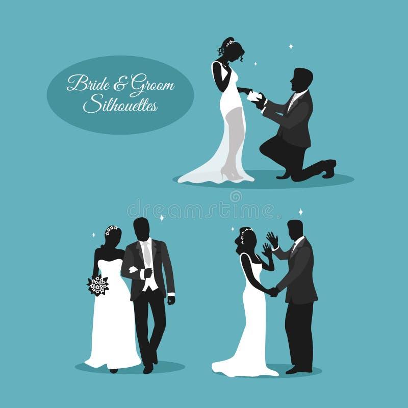 Pares de la boda en Silhouets libre illustration