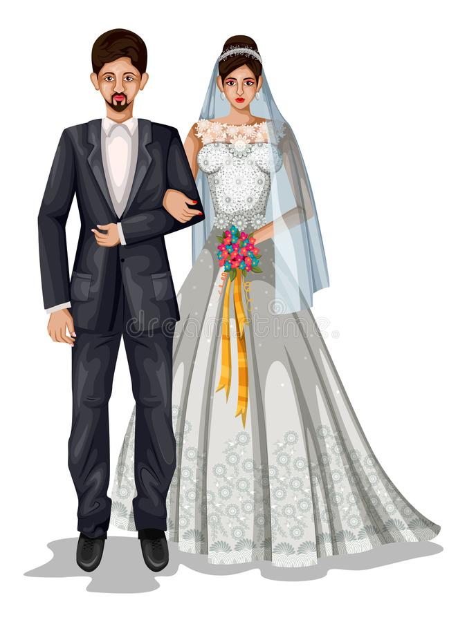 Pares de la boda de Goan en el traje tradicional de Goa, la India ilustración del vector