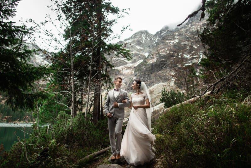 Pares de la boda que caminan cerca del lago en las monta?as de Tatra en Polonia Morskie Oko D?a de verano hermoso imagenes de archivo