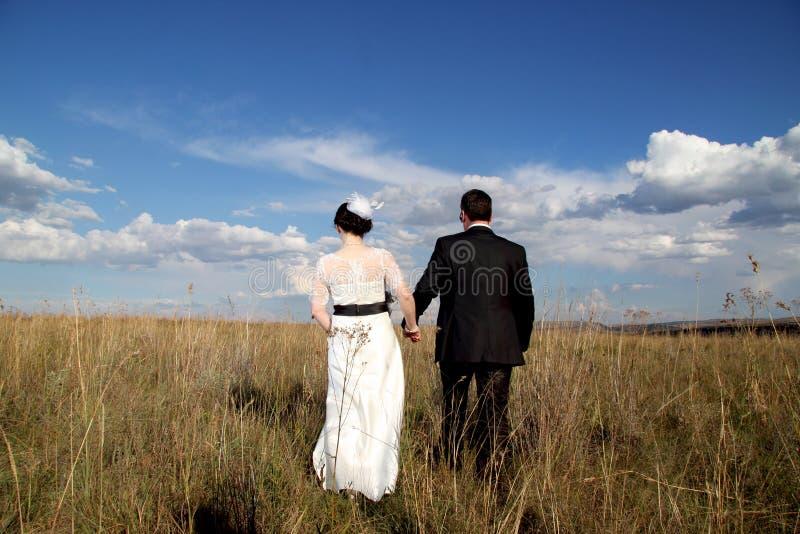 Pares de la boda que llevan a cabo las manos que se van fotografía de archivo libre de regalías