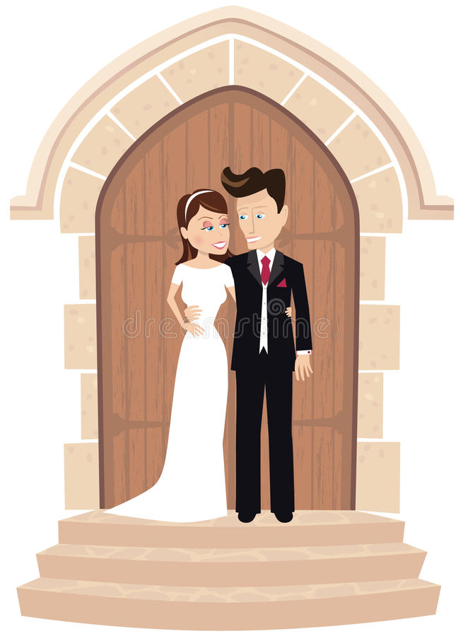 Pares de la boda que presentan en la puerta de la iglesia stock de ilustración