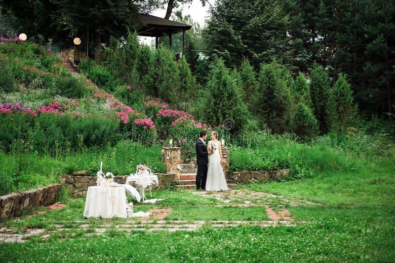 Pares de la boda que se colocan abajo en una zona verde fotografía de archivo