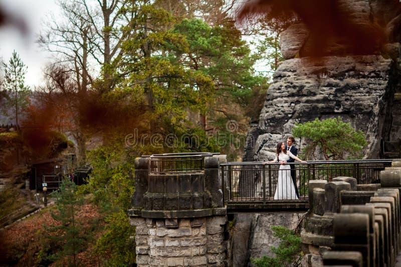 Pares de la boda que se oponen en las montañas al cielo Momento romántico lindo El mejor día en la vida de la novia fotos de archivo