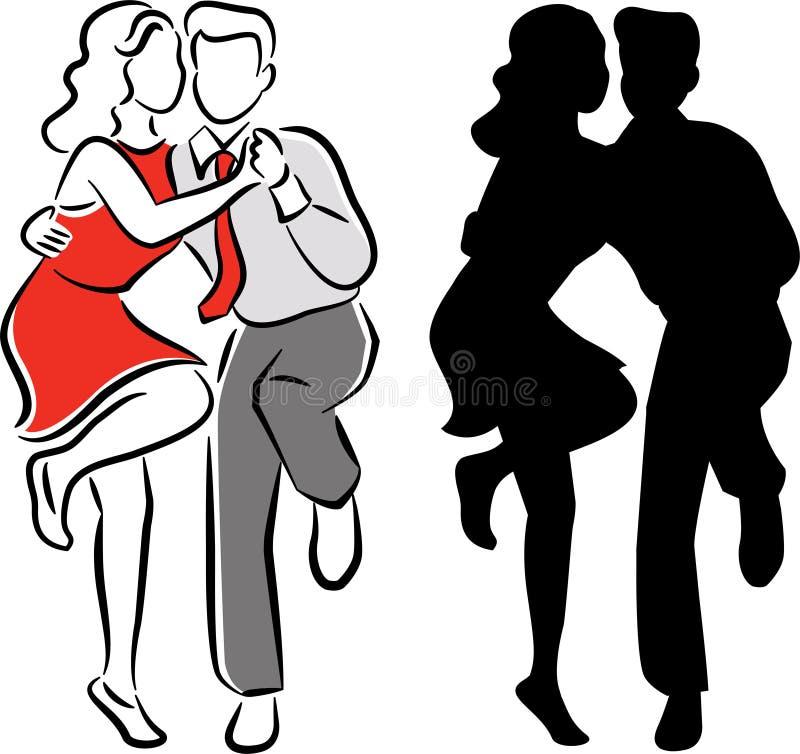 Pares de la danza del balboa del oscilación stock de ilustración