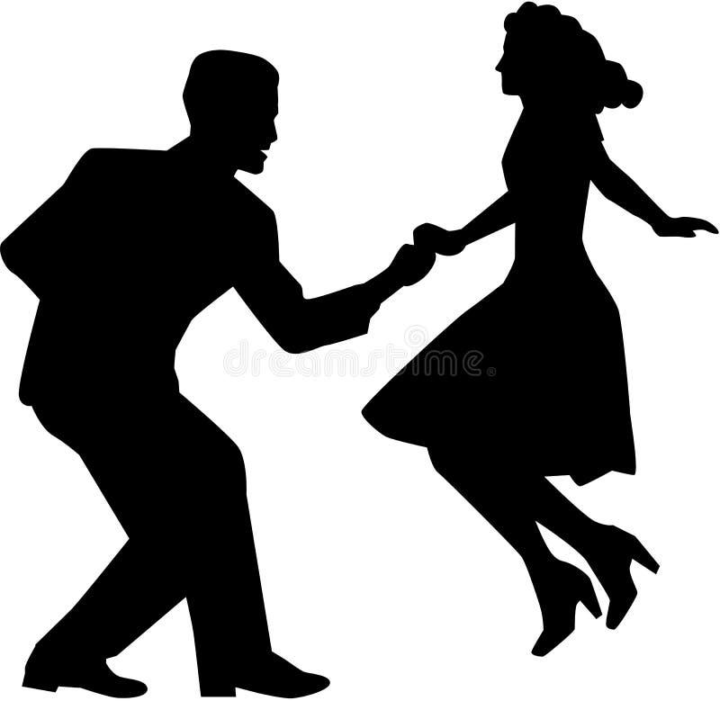 Pares de la danza del oscilación ilustración del vector