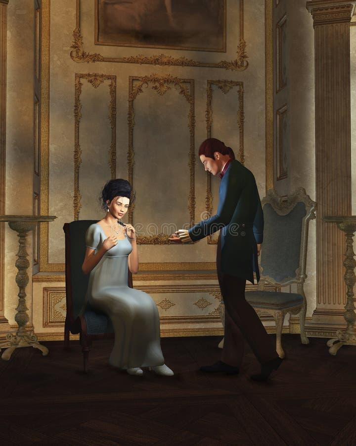 Pares de la era de la regencia en salón de baile iluminado por velas ilustración del vector