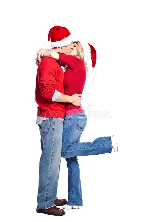 Pares de la feliz Navidad imagenes de archivo