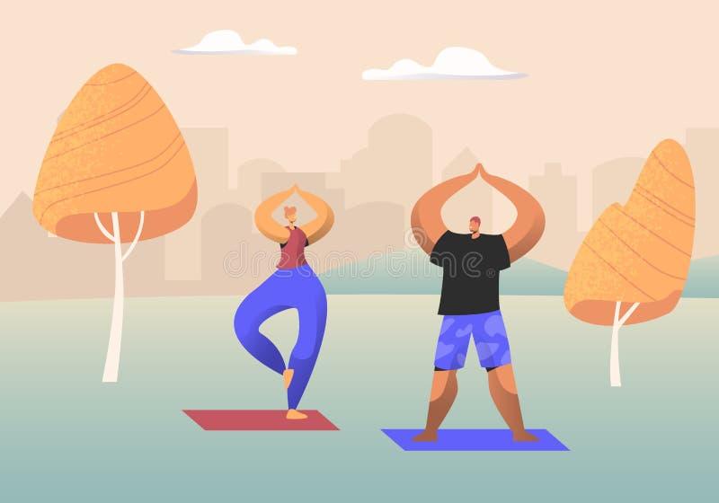 Pares de la gente sana que hace la yoga Asana o el ejercicio de los aeróbicos que se coloca con las manos para arriba en el parqu ilustración del vector