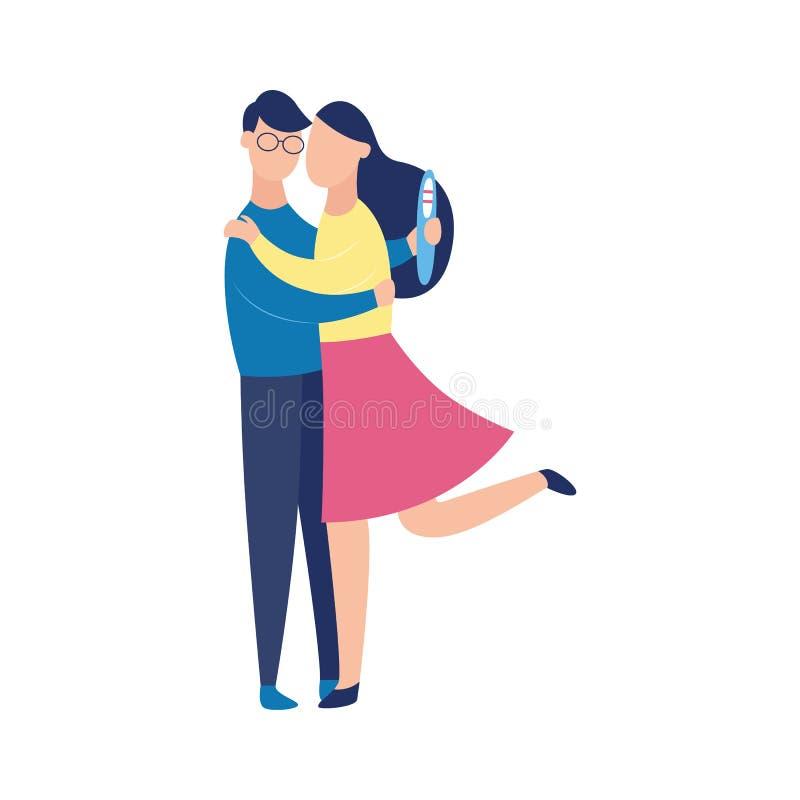Pares de la historieta con la prueba de embarazo positiva, mujer embarazada que abraza al hombre alegre stock de ilustración
