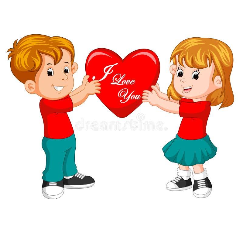 Pares de la historieta en el amor que lleva a cabo el corazón stock de ilustración