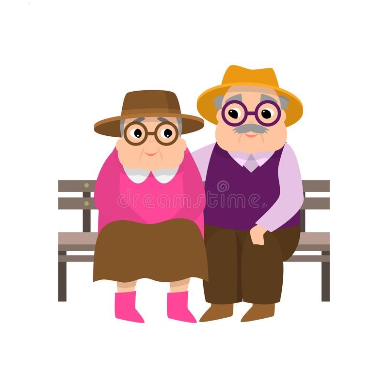 Pares de la mujer mayor y del hombre que descansan en el banco de parque de madera ilustración del vector