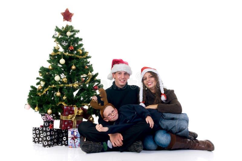 Pares de la Navidad con el niño foto de archivo