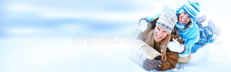 Pares de la Navidad del invierno imagenes de archivo