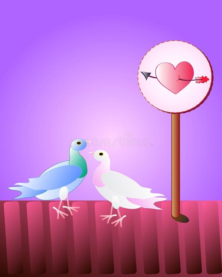 Pares de la paloma, como símbolo del amor stock de ilustración