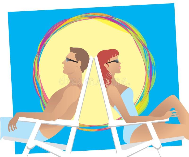 Pares de la playa ilustración del vector