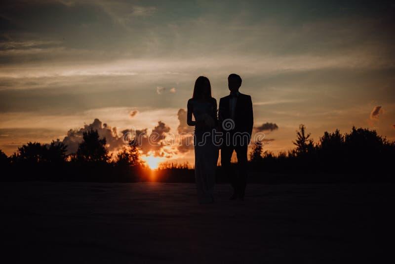 pares de la silueta de la muchacha atractiva del beso del individuo en la arena en vestido clásico árboles y cielo en fondo imagen de archivo libre de regalías