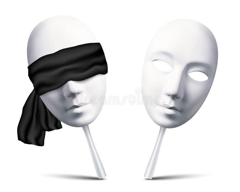Pares de las máscaras con los ojos vendados blancas para el juego de la mafia libre illustration