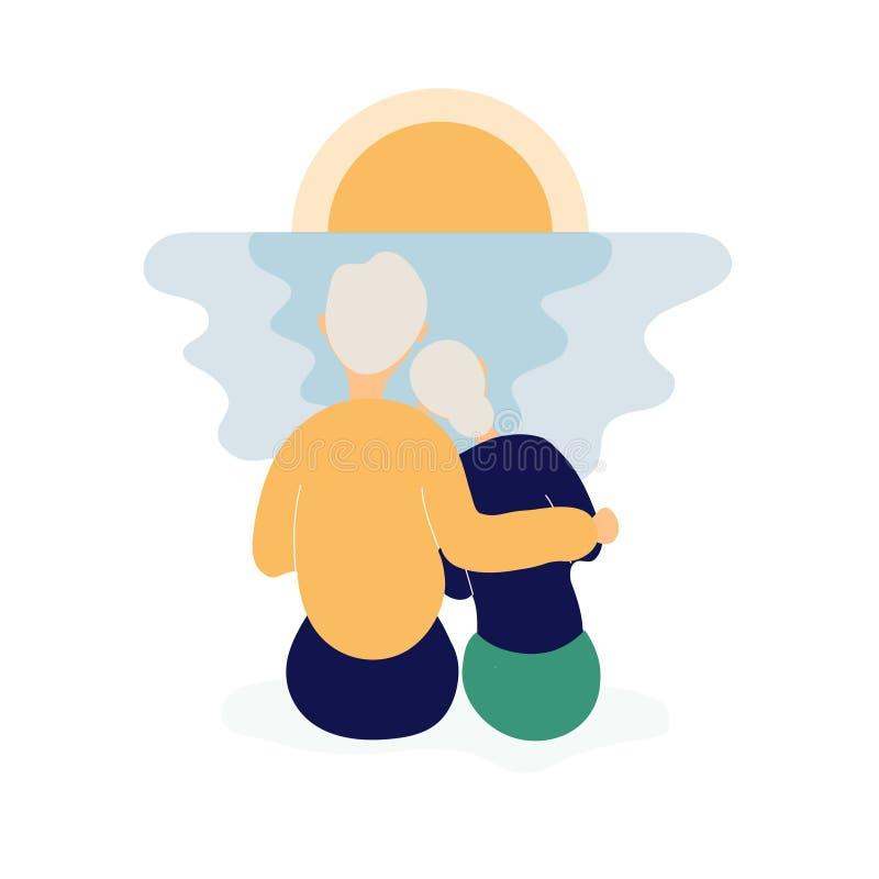 Pares de las personas mayores lindas que miran puesta del sol ilustración del vector