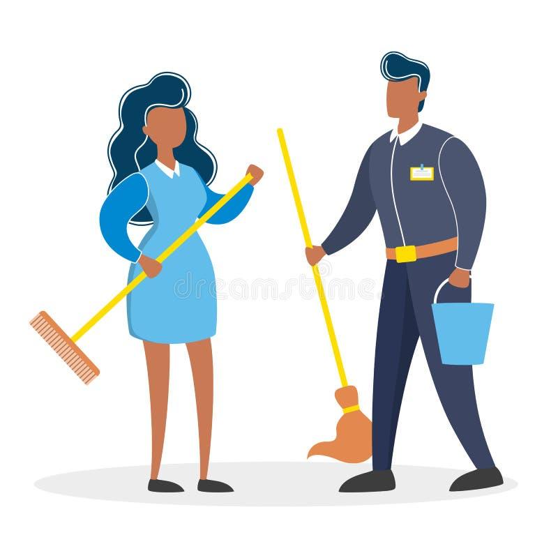 Pares de limpeza do serviço Homem e mulher no uniforme ilustração do vetor