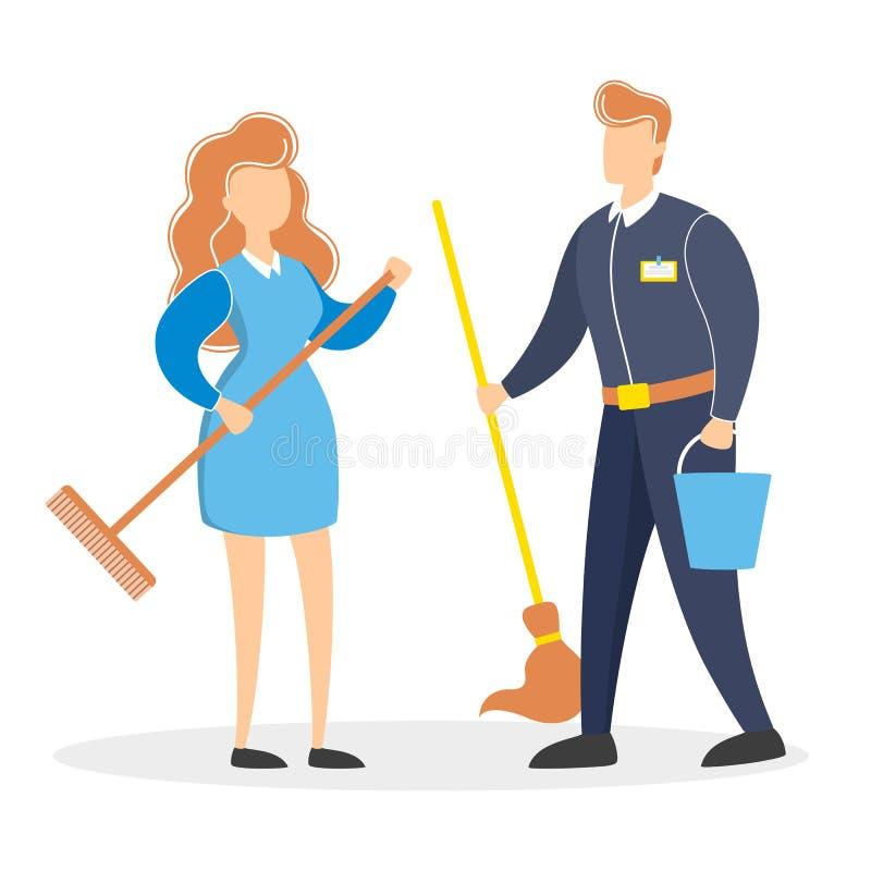 Pares de limpeza do serviço Homem e mulher no uniforme ilustração stock