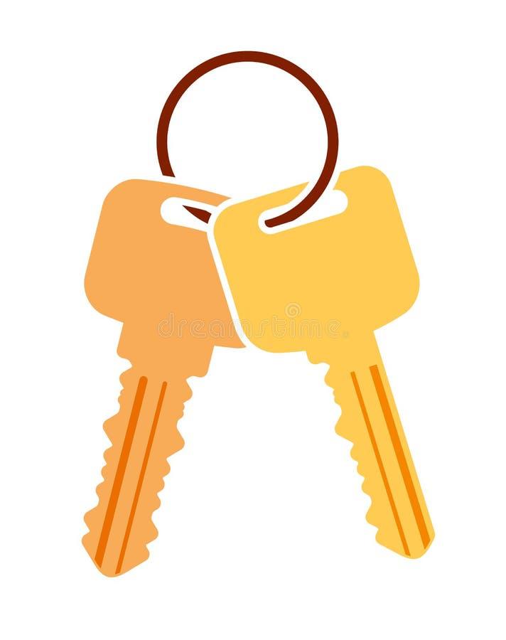 Pares de llaves del vector con el anillo Icono plano colorido para su desig stock de ilustración