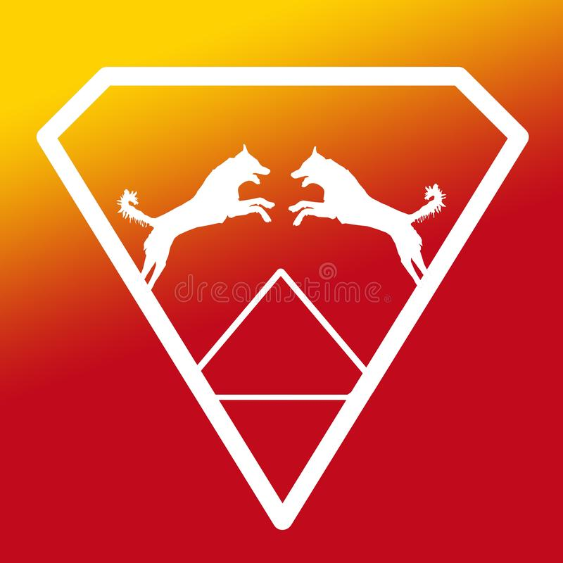 Pares de Logo Banner Image Jumping Dog en Diamond Shape en fondo amarillo-naranja libre illustration