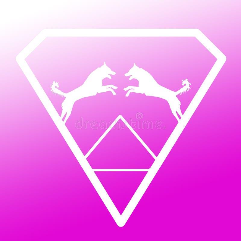Pares de Logo Banner Image Jumping Dog en Diamond Shape en fondo blanco púrpura libre illustration