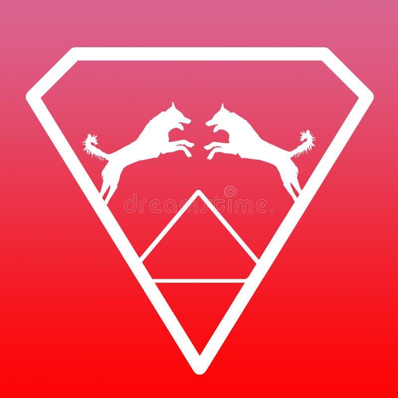 Pares de Logo Banner Image Jumping Dog en Diamond Shape en fondo rosado rojo libre illustration