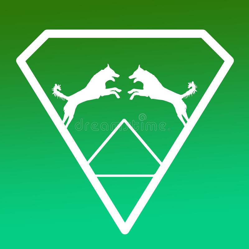Pares de Logo Banner Image Jumping Dog en Diamond Shape en fondo verde ilustración del vector
