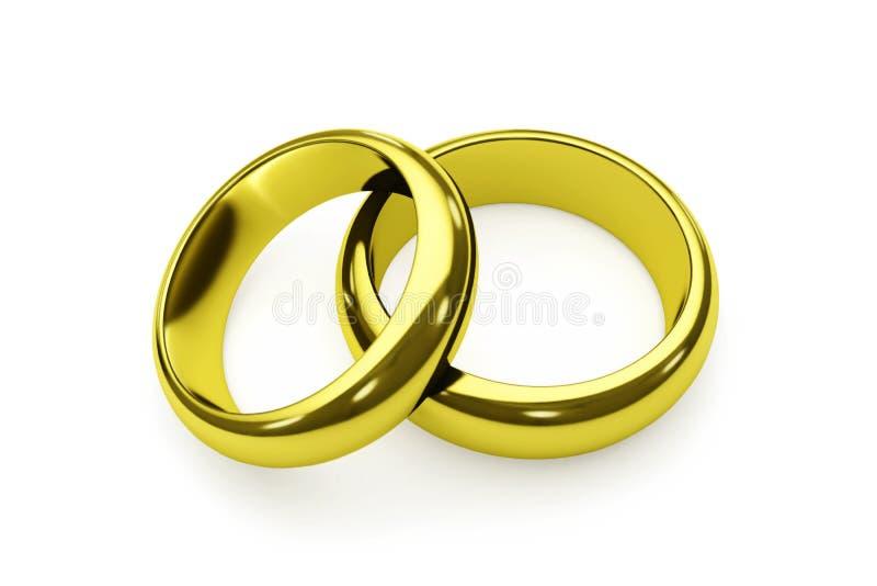 Pares de los anillos de oro aislados en blanco foto de archivo