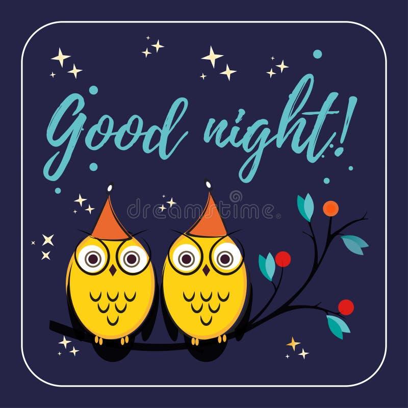 Pares de los búhos lindos del vector con los sombreros en la rama de árbol Buenas noches de la cita del ejemplo de los niños s pa libre illustration