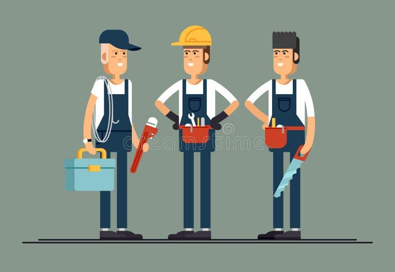 Pares de los caracteres planos del vector de los trabajadores de construcción stock de ilustración