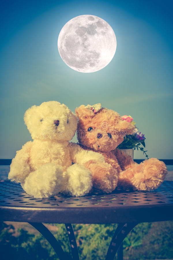 Pares de los osos de peluche del concepto con amor y relación para valent imagen de archivo libre de regalías