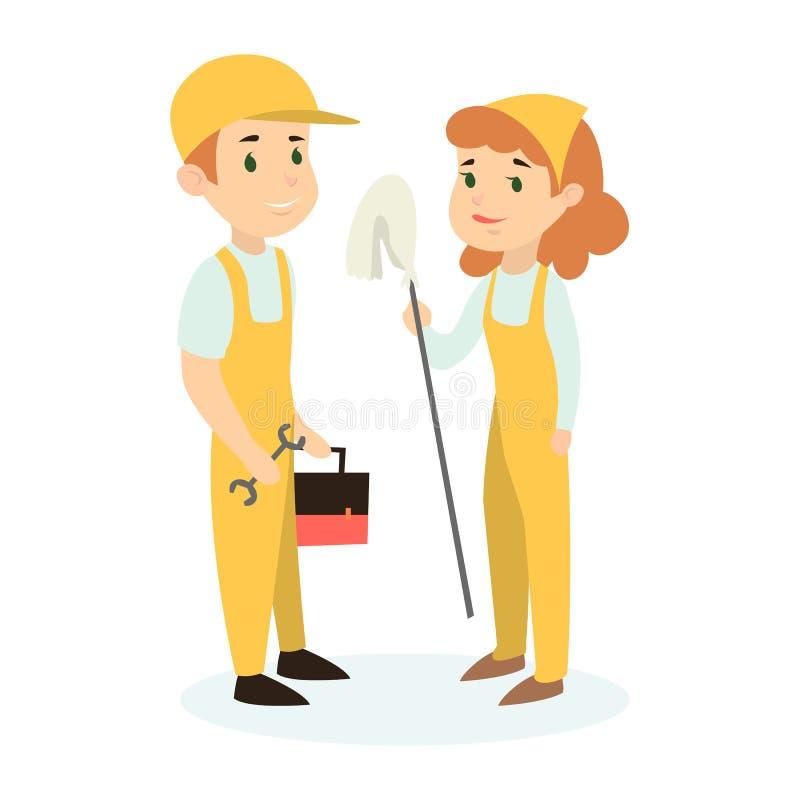 Pares de los trabajadores de construcción stock de ilustración