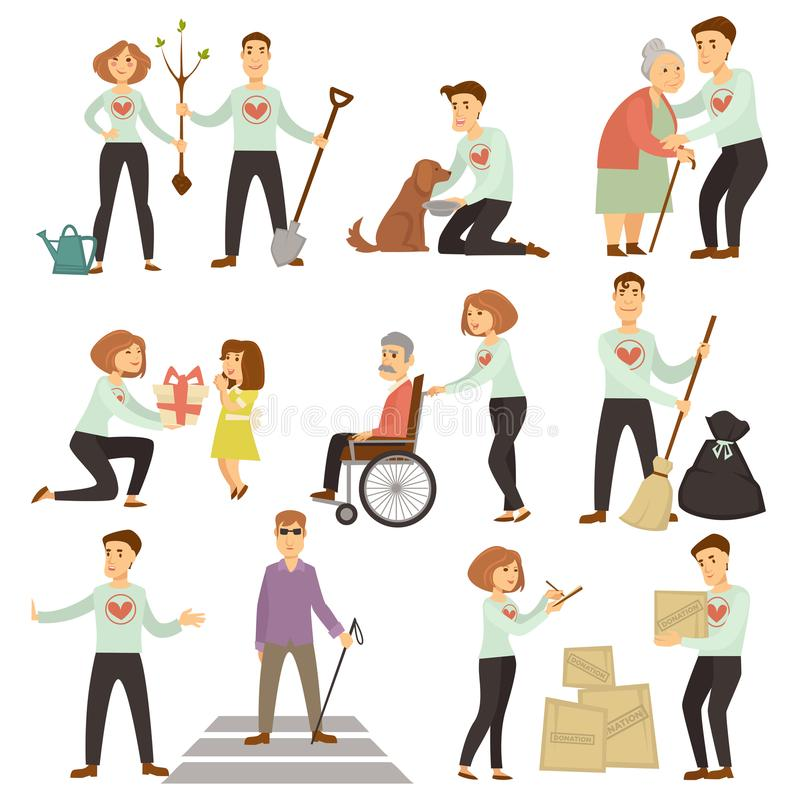 Pares de los voluntarios que toman el cuidado de ancianos y de la ecología ilustración del vector