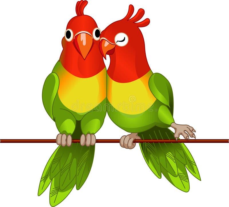 Pares de lovebirds ilustração stock