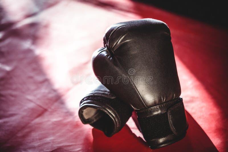 Pares de luvas de encaixotamento pretas fotografia de stock royalty free