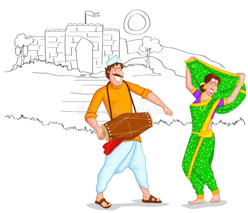 Pares de Maharashtrian del baile libre illustration