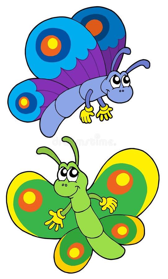 Pares de mariposas sonrientes stock de ilustración