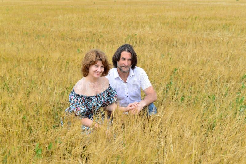 Pares de mediana edad cariñosos que se colocan en campo en verano foto de archivo libre de regalías