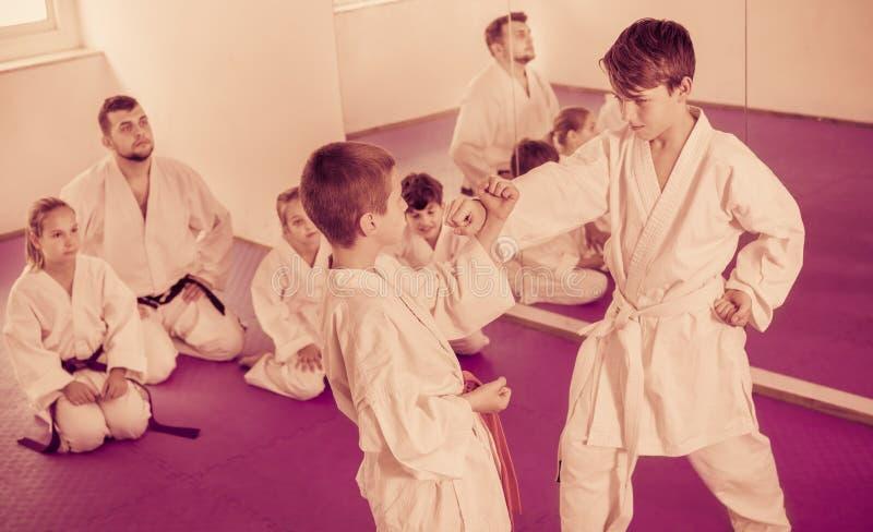 Pares de meninos que praticam movimentos novos do karaté foto de stock royalty free