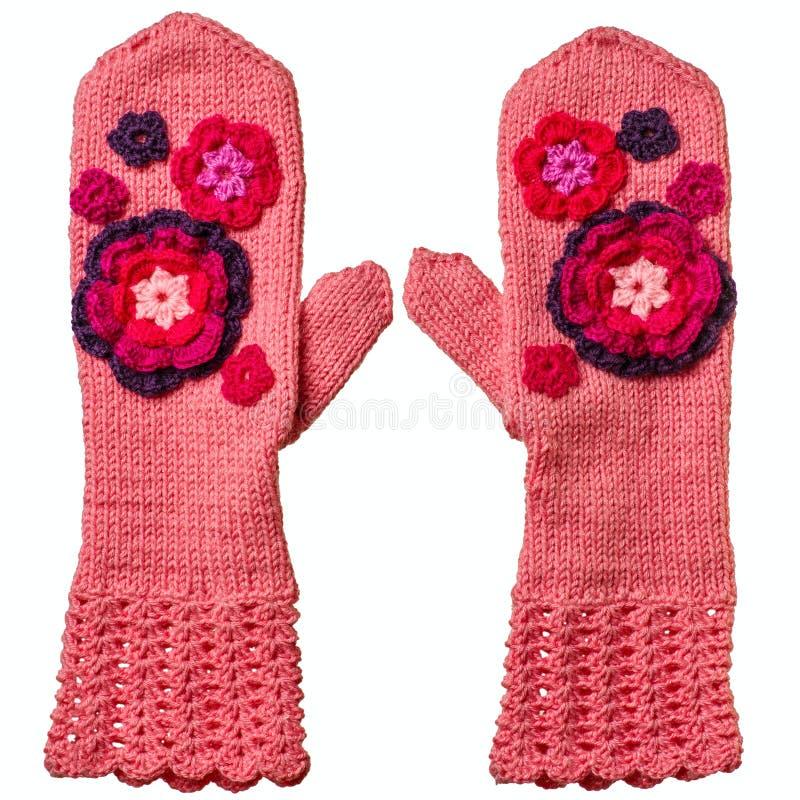 Pares de mitenes do rosa Hand knitted fotos de stock