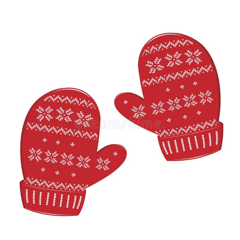 Pares de mitenes feitos malha do Natal no fundo branco Vetor ilustração stock