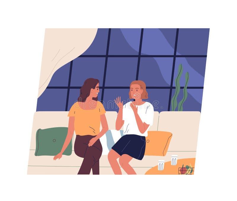 Pares de moças felizes que sentam-se no sofá e na fala Dois amigos fêmeas que conversam no café Tempo da despesa das mulheres ilustração royalty free