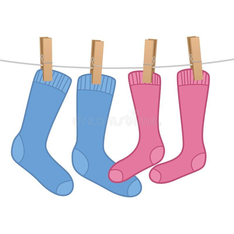 Pares de mujer del hombre del símbolo del amor de los calcetines libre illustration